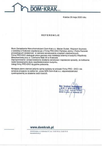 List referencyjny Dom-Krak
