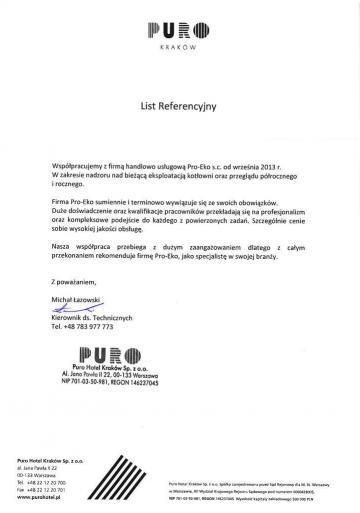 List referencyjny Puro
