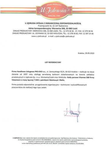 """List referencyjny """"UJędrusia"""""""